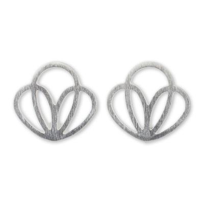 Artisan Designed Sterling Silver Petal Shaped Stud Earrings