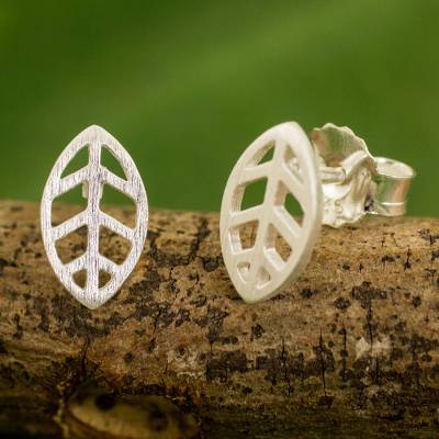 Sterling silver stud earrings, 'Modern Leaf' - Contemporary Brushed Sterling Silver Leaf Stud Earrings