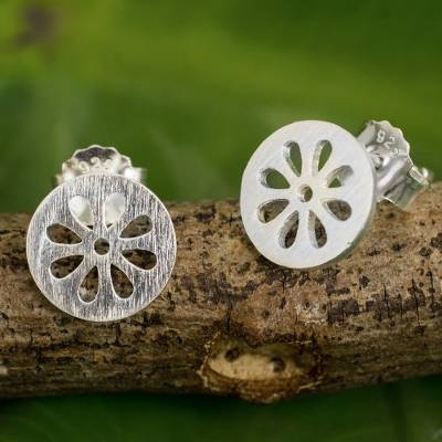 Sterling silver stud earrings, 'Blooming Moons' - Thai Artisan Designed Sterling Silver Flower Stud Earrings