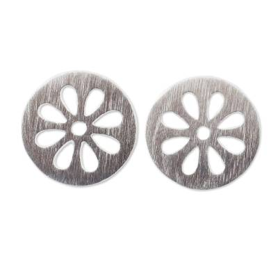 Thai Artisan Designed Sterling Silver Flower Stud Earrings