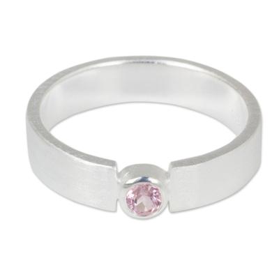 Tourmaline solitaire ring, 'Lanna Belle' - Pink Tourmaline Solitaire Ring in Brushed Satin Silver 925
