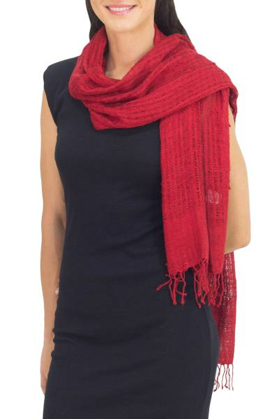 Silk scarf, 'Summer Ruby' - Coarse Textured Red Silk Scarf Handwoven in Thailand