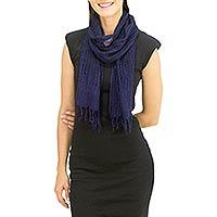 Silk scarf, 'Summer Sapphire' - Thai Open Weave Raw Silk Scarf in Sapphire Blue