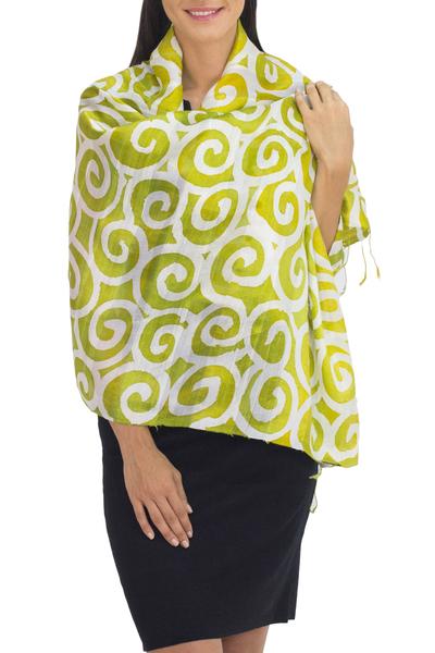 Silk shawl, 'Chartreuse Thai Maze' - Bright Chartreuse and White Spiral Motif Silk Shawl