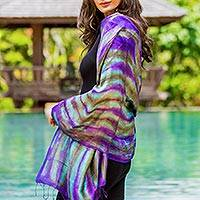 Silk shawl, 'Colorful Thai River'