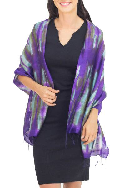 Silk shawl, 'Colorful Thai River' - Purple and Green Tie Dyed Silk Shawl from Thailand
