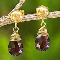 Gold plated garnet dangle earrings, 'Crimson Sunrise' - 24k Gold Plated Sterling Silver and Garnet Dangle Earrings