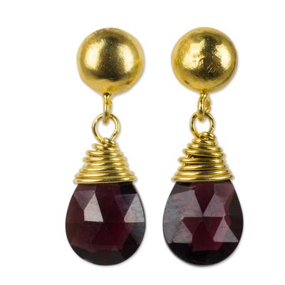24k Gold Plated Sterling Silver and Garnet Dangle Earrings