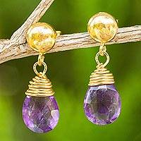 24k gold plated amethyst dangle earrings, 'Violet Sunrise' - Amethyst Briolette Earrings in 24k Gold Plated 925 Silver