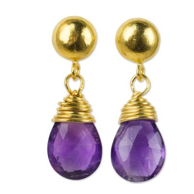24k gold plated amethyst dangle earrings, 'Violet Sunrise' - Amethyst Briolette Earrings in 24k Gold Plated 925 Silver