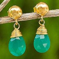 24k gold plated chalcedony dangle earrings, 'Verdant Sunrise' - Green Chalcedony Earrings in Gold Plated Sterling Silver