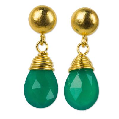 24k gold plated chalcedony dangle earrings, 'Verdant Sunrise' - Green Chalcedony Earrings in Gold Plated Sterling Silver