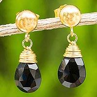 24k gold plated onyx dangle earrings, 'Black Sunrise'