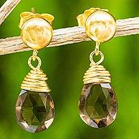 24k gold plated smoky quartz dangle earrings, 'Smoky Sunrise'
