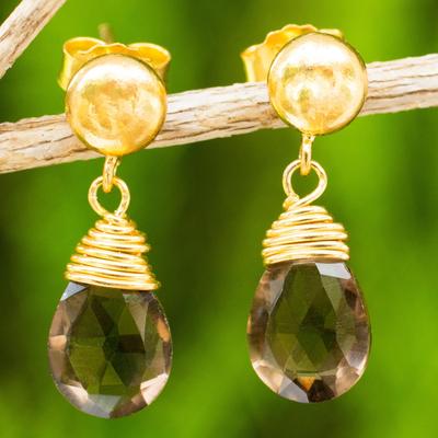 24k gold plated smoky quartz dangle earrings, 'Smoky Sunrise' - Earrings with 24k Gold Plated Silver and Smoky Quartz