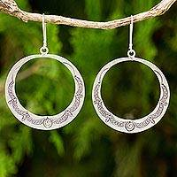 Silver dangle earrings, 'Karen Homage' - Handcrafted 950 Silver Hill Tribe Style Dangle Earrings