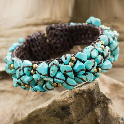 Calcite cuff bracelet, 'Sky Blue Day' - Turquoise colour Bead Bracelet on Brown Crocheted Cords