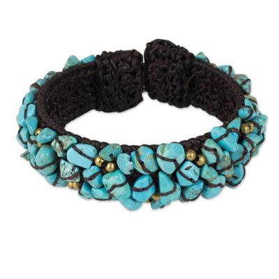 Turquoise Color Bead Bracelet on Brown Crocheted Cords