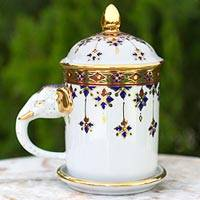 Benjarong porcelain mug, 'Charmed Thai' - White Porcelain Benjarong Mug and Lid with Gold Application