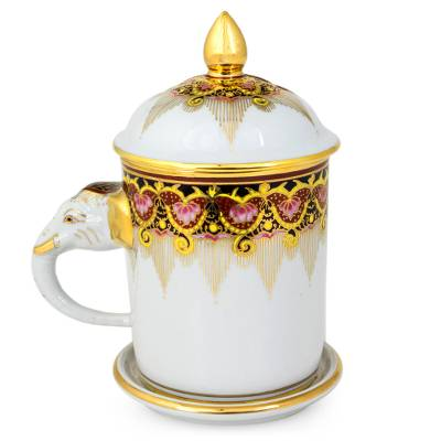 Benjarong porcelain mug, 'Thai Iyara' - Benjarong White Elephant Coffee Mug and Lid with Gold Paint