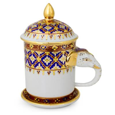 Benjarong porcelain mug, 'Thai Elixir' - White Porcelain Lidded Benjarong Mug with Gold Application