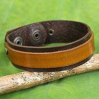 Leather bracelet, 'Rough and Tumble in Brown' - Handmade Two Tone Brown Leather Bracelet with Snaps