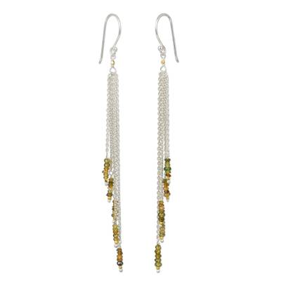 Yellow sapphire waterfall earrings, 'Power of Nature' - Long Sterling Silver and Yellow Sapphire Waterfall Earrings
