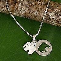 Sterling silver pendant necklace, 'Elephant Shadow' - Thai Sterling Silver Necklace with Two Elephant Pendants