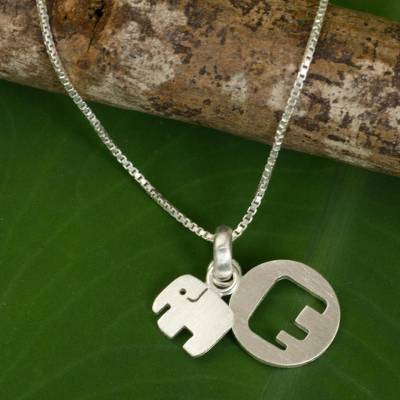 f4aa48d24 UNICEF Market | Thai Sterling Silver Necklace with Two Elephant Pendants -  Elephant Shadow