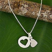 Sterling silver heart necklace, 'Soul Mates in the Moon'