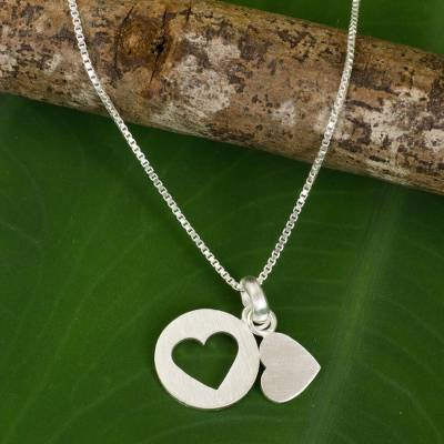 Sterling silver heart necklace, 'Soul Mates in the Moon' - Thai Double Heart Pendants on Sterling Silver Necklace