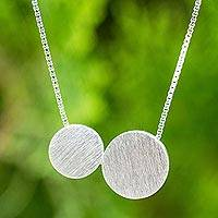 Sterling silver pendant necklace, 'Lunar Couple'