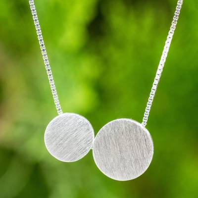 Sterling silver pendant necklace, 'Lunar Couple' - Thai Original Necklace Artisan Crafted Silver Jewelry