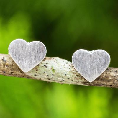 Sterling silver heart stud earrings, 'For Love' - Brushed Sterling Silver 925 Petite Heart Stud Earrings