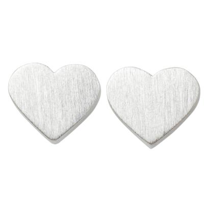 Brushed Sterling Silver 925 Petite Heart Stud Earrings