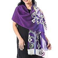 Cotton batik shawl, 'Lavender Goat' - Hand Crafted 100% Cotton Artisan Batik Shawl from Thailand