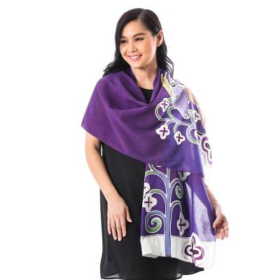 Cotton batik shawl, 'Lavender Goat' - Hand Dyed Cotton Batik Shawl with Goat Motif from Thailand