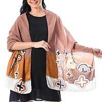 Cotton batik shawl, 'Brown Goat' - Goat Motif Batik Cotton Shawl Handcrafted in Thailand