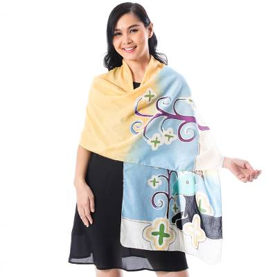 Cotton batik shawl, 'Blue and Yellow Goat' - Artisan Crafted Cotton Shawl with Batik Goat Design
