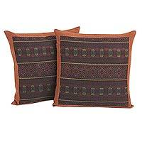 Embroidered cotton cushion covers, 'Thai Passion' (pair) - Burnt Orange Cotton Cushion Covers with Embroidery (Pair)