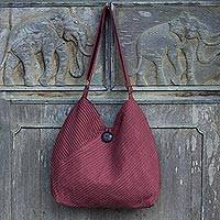 Cotton hobo bag with coin purse, 'Surreal Wine' - Unique Cotton Pintuck Style Shoulder Bag in Wine Red