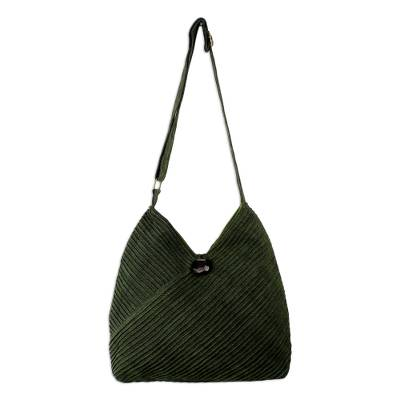 Cotton hobo bag with coin purse, 'Surreal Green' - Leaf Green Cotton Hobo Style Handbag with Coin Purse