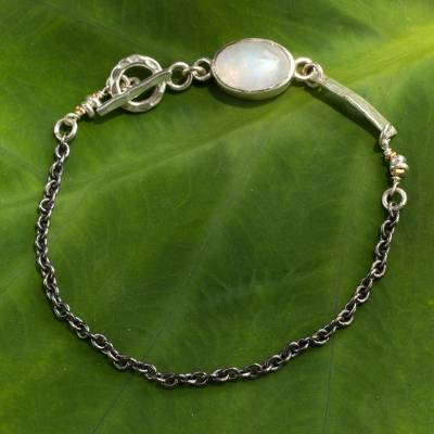 Rainbow moonstone pendant bracelet, 'Midnight Dreamer' - Modern Hand Crafted Sterling Silver Bracelet with Moostone a