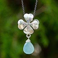 Blue chalcedony pendant necklace, 'Love and Luck' - Four Leaf Clover Pendant Necklace with Blue Chalcedony