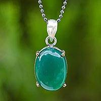Green onyx pendant necklace, 'Desired Effect' - Green Onyx and Sterling Silver Necklace with Gold Accents