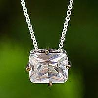 Zircon pendant necklace, 'Clear Vision' - White Zircon Pendant Necklace in Sterling with Gold Accents