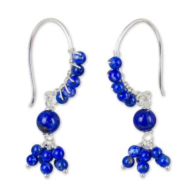 Beaded Lapis Lazuli and Sterling Silver Dangle Earrings