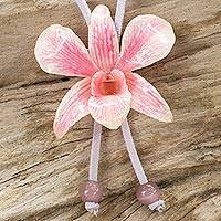 Natural orchid leather long flower necklace, 'Exotic Pink Bloom' - Natural Orchid Flower Necklace Handmade with Suede Cord