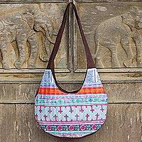 Cotton hobo bag, 'Hmong Lady' - Hand Embroidered Cotton Hobo Shoulder Bag from Thailand