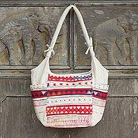 Cotton shoulder bag, 'Lahu Carnival' - Thai Colorful Embroidered White Cotton Shoulder Bag